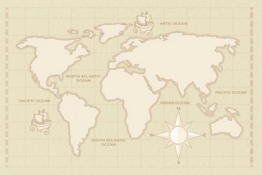 复古风格灰色描边的世界地图图片免抠矢量素材