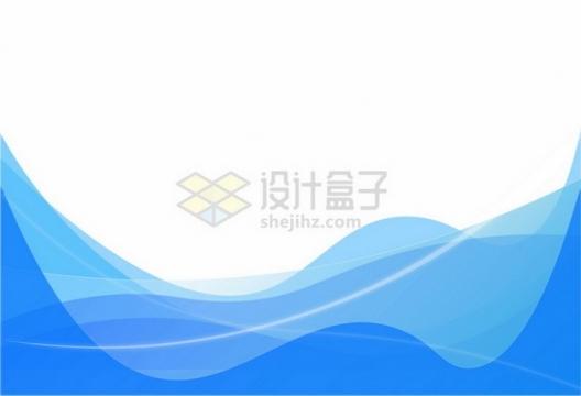 蓝色波浪线边框装饰632089png图片素材