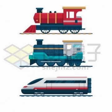 复古蒸汽火车头和高铁车头png图片免抠矢量素材