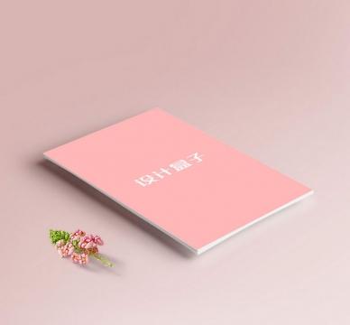 放在桌面上的粉色A4纸张内容样机图片设计素材