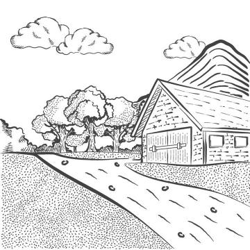 黑色线条农场农村乡村风景照简笔画图片免抠素材