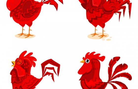 4款红色的卡通公鸡雄鸡图片免抠矢量素材