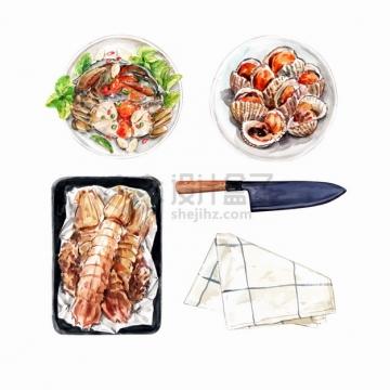 皮皮虾大闸蟹贻贝等美味海鲜美食水彩插画png图片素材