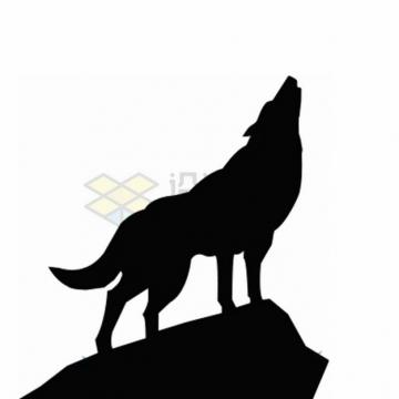 午夜嚎叫的野狼森林狼剪影png图片素材