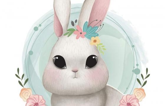 可爱彩色手绘插画风格花环装饰的卡通小兔子图片免抠素材