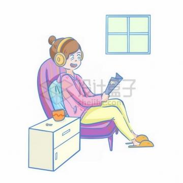 卡通女孩戴着耳机坐在沙发上看书png免抠图片素材
