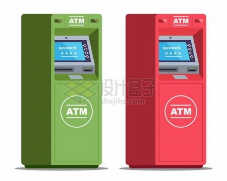 两款绿色和红色的银行ATM取款机png图片免抠素材