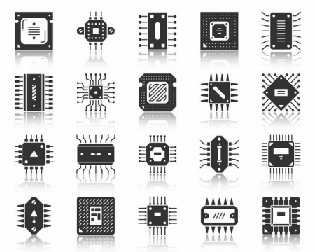20款黑白色的集成电路图标png图片免抠矢量素材