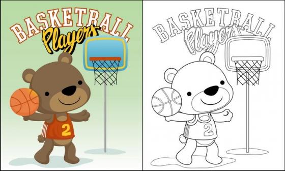 正在打篮球投篮的卡通小熊简笔画图片免抠素材
