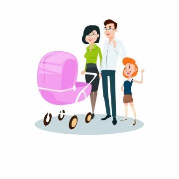 推着粉色婴儿车的年轻妈妈爸爸和女儿卡通一家人png图片免抠素材