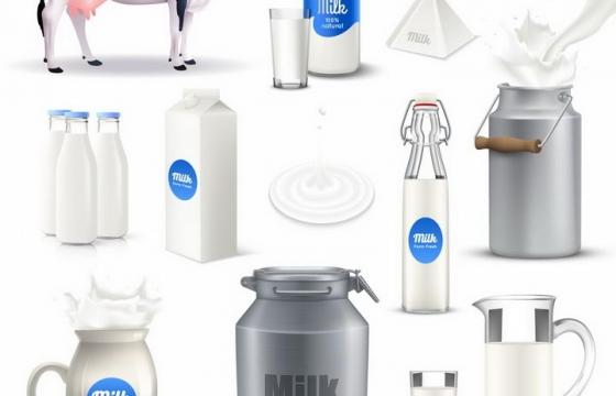 奶牛和各种包装的牛奶制品png图片免抠矢量素材