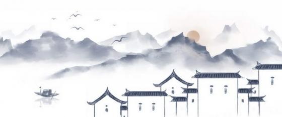 美丽的水墨画风格中国传统乡村徽式建筑png免抠图片