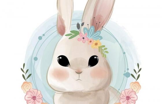 可爱彩色手绘插画风格花环装饰的卡通小兔子头像图片免抠素材