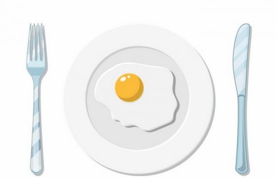 俯视视角的放了一个煎蛋的盘子瓷器和刀叉西餐用具png图片免抠矢量素材
