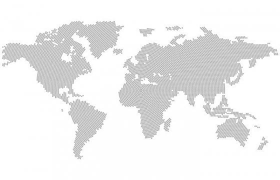 同心圆黑点组成的世界地图图案图片免抠矢量素材