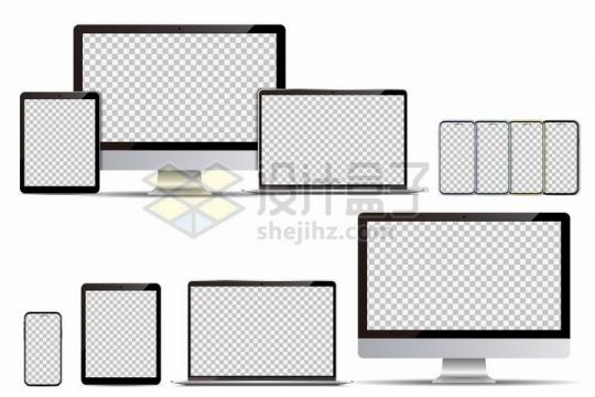 2套苹果电脑手机平板电脑全家桶样机展示png图片免抠矢量素材