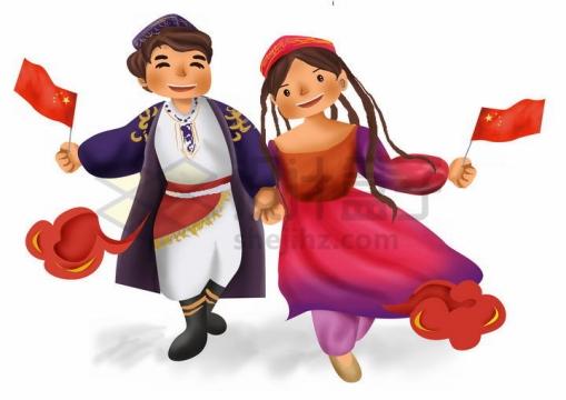 拿着国旗的卡通维吾尔族少女少年传统服饰少数民族png图片免抠素材