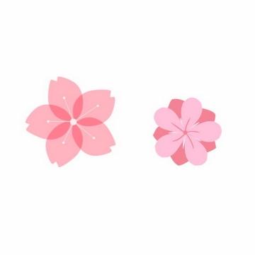 两款简约风格的粉色桃花装饰png图片免抠素材