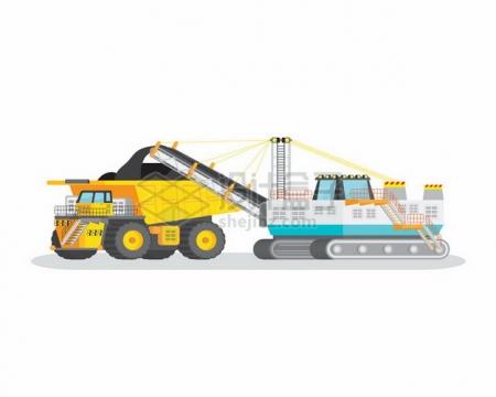 矿山上的大型挖掘机正在输送煤矿到重型卡车上270961png图片素材