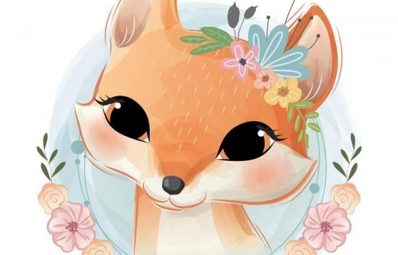 可爱彩色手绘插画风格花环装饰的卡通小狐狸图片免抠素材