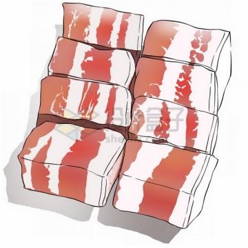 简约风格的五花肉猪肉块插画png免抠图片素材