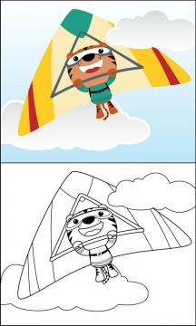 正在玩滑翔伞的卡通老虎简笔画图片免抠素材