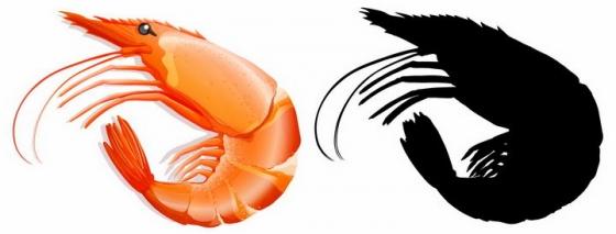 红色大虾和大虾剪影美味海鲜海产品png图片免抠矢量素材