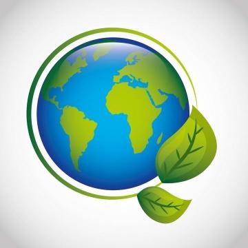手绘风格绿叶装饰的绿色地球环保主题图片免抠素材