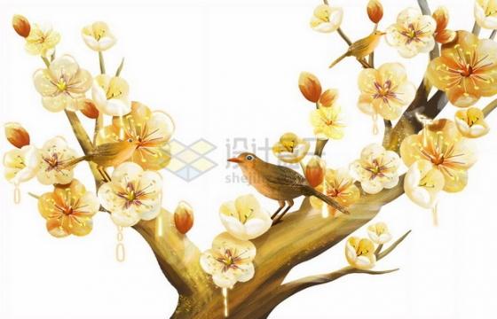枝头上的金色桃花和小鸟png免抠图片素材