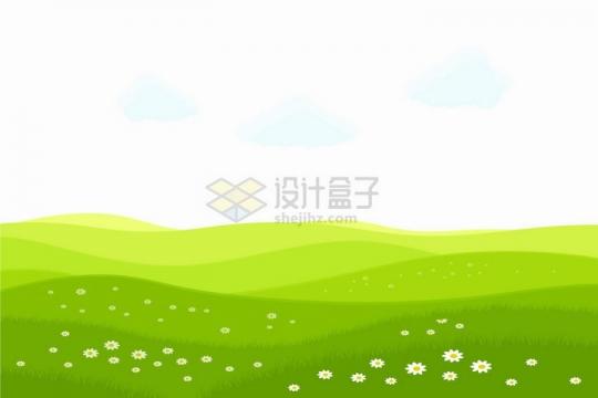 春天的青草地和点缀在草坪上的小花png图片免抠矢量素材