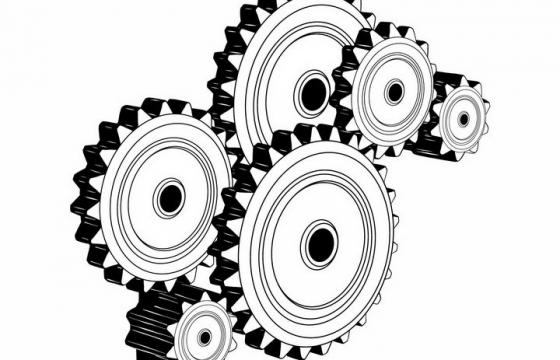 黑白色风格立体联动齿轮机械装置png图片免抠矢量素材
