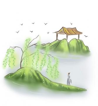 中国风彩色水墨画风格在小岛上眺望远方的古装男子图片免抠素材