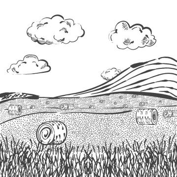 黑色线条手绘风格农场农田风景照简笔画图片免抠素材