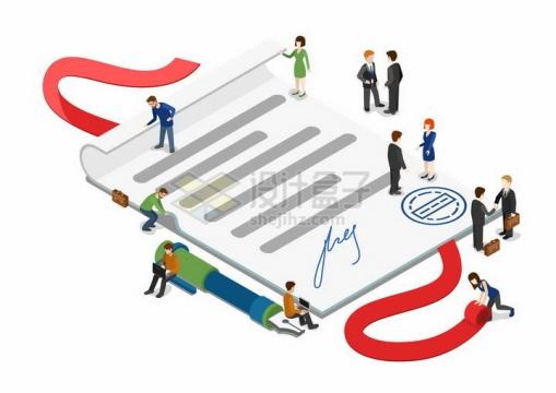 2.5D立体风格签署商业合同的小人儿商务职场人士png图片免抠素材