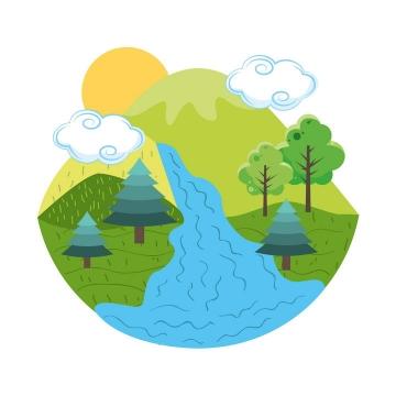 简约手绘风格拥有高山河流森林的地球模型图片免抠素材