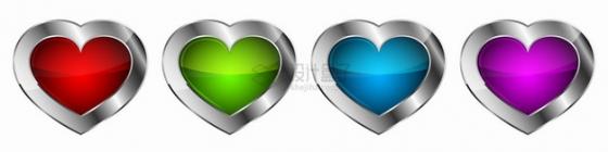 4款银色金属边框红色绿色蓝色粉色水晶玻璃心形形状png图片素材