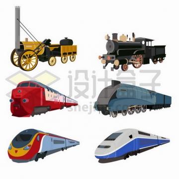 6款蒸汽火车头和高铁列车png图片免抠矢量素材