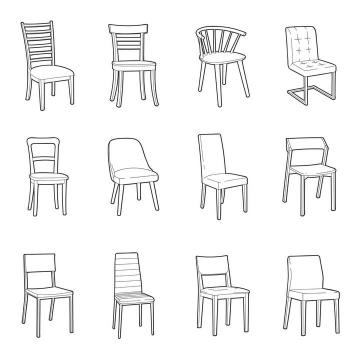 12款简笔手绘风格椅子家具图片免抠素材