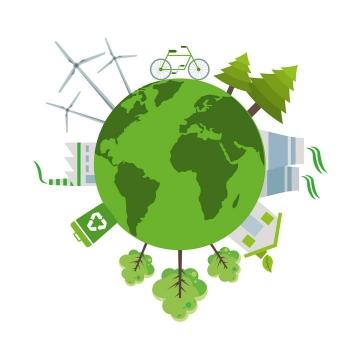 绿色地球绿色能源环保主题配图图片免抠素材