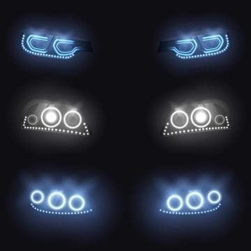 三款黑暗中发光的汽车车头大灯图片免抠素材