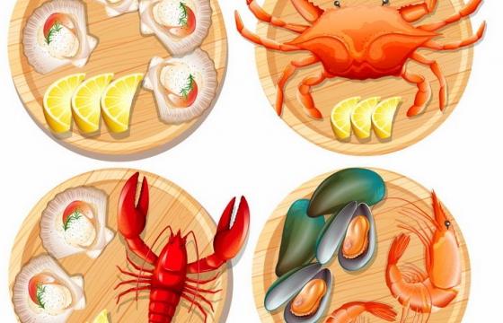 放在木盘上的蒜蓉粉丝蒸扇贝面包蟹螃蟹澳洲大龙虾大虾贻贝等美味海鲜海产品png图片免抠矢量素材