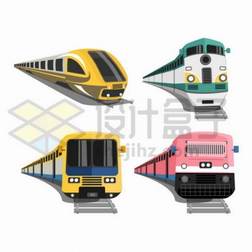 4款高铁和普通火车车头png图片免抠矢量素材