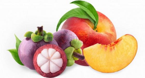 切开的水蜜桃和山竹png图片素材