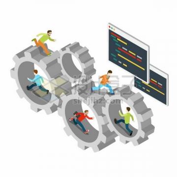 2.5D风格踩着齿轮跑步的程序员png图片免抠矢量素材