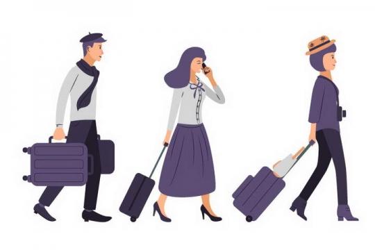 扁平化手绘插画风格拖着行李箱的旅客图片免抠素材