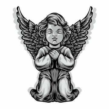 灰色的天使宝贝雕像png图片免抠矢量素材