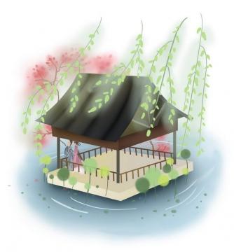 中国风彩色水墨画风格在亭子中约会的古装情侣图片免抠素材