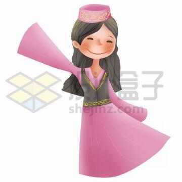 跳舞的Q版卡通回族少女传统服饰少数民族png图片免抠素材