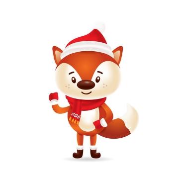 戴着圣诞帽打招呼的可爱卡通企鹅图片免抠矢量图素材