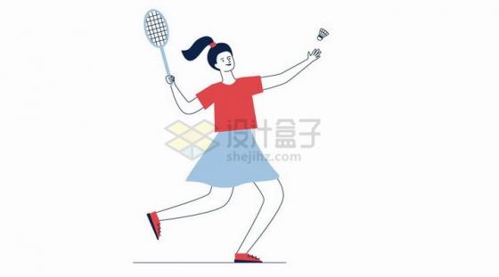 扁平插画打羽毛球的女孩png图片免抠矢量素材